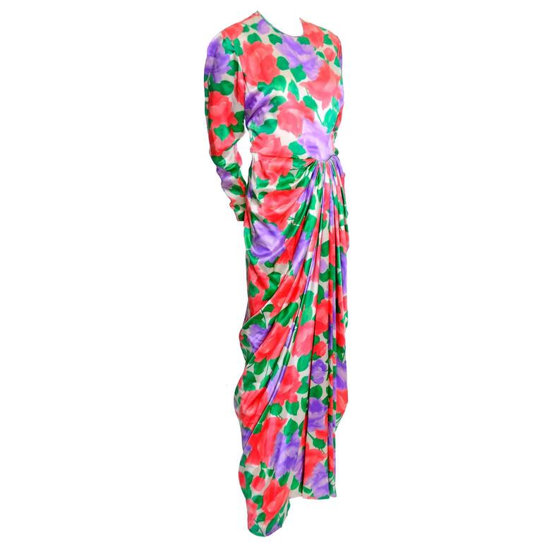 Galanos Silk Vintage Dress Floral Draping Lined Exquisite Formal Gown For Sale