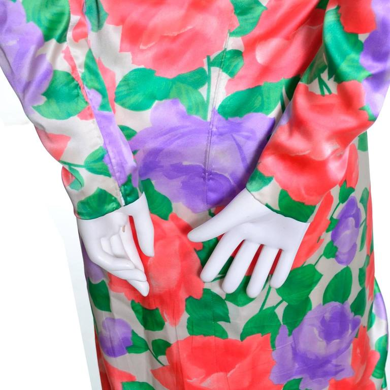 Galanos Silk Vintage Dress Floral Draping Lined Exquisite Formal Gown For Sale 1