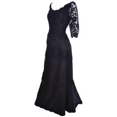 Helen Morley Bergdorf Goodman Vintage Dress Evening Gown in Lace & Satin
