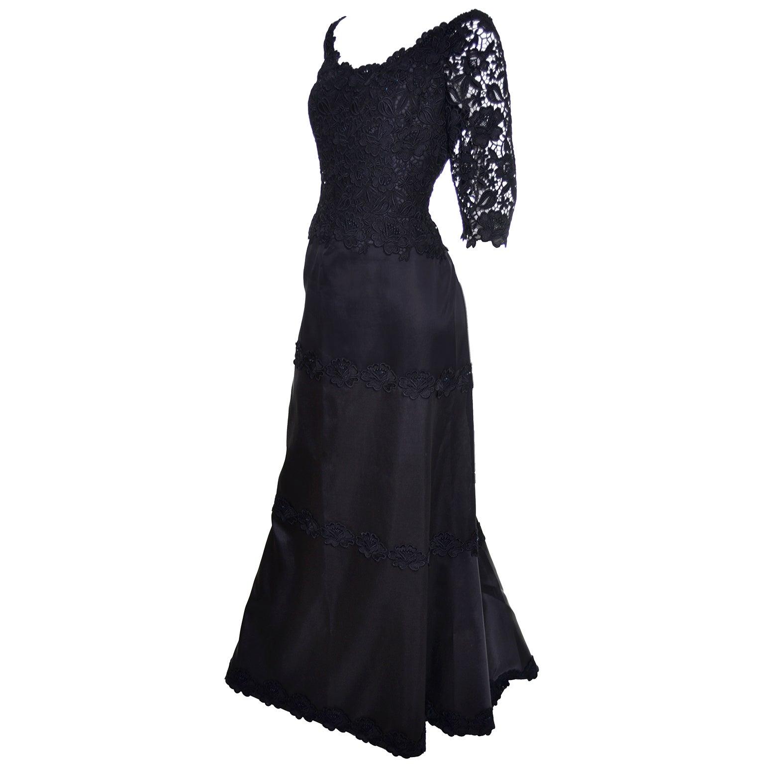 Helen Morley Bergdorf Goodman Vintage Dress Lace Satin ...