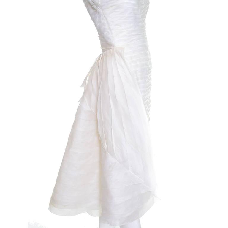 Women's 1950s William Cahill Beverly Hills Pleated Organza Vintage Wedding Dress Train For Sale