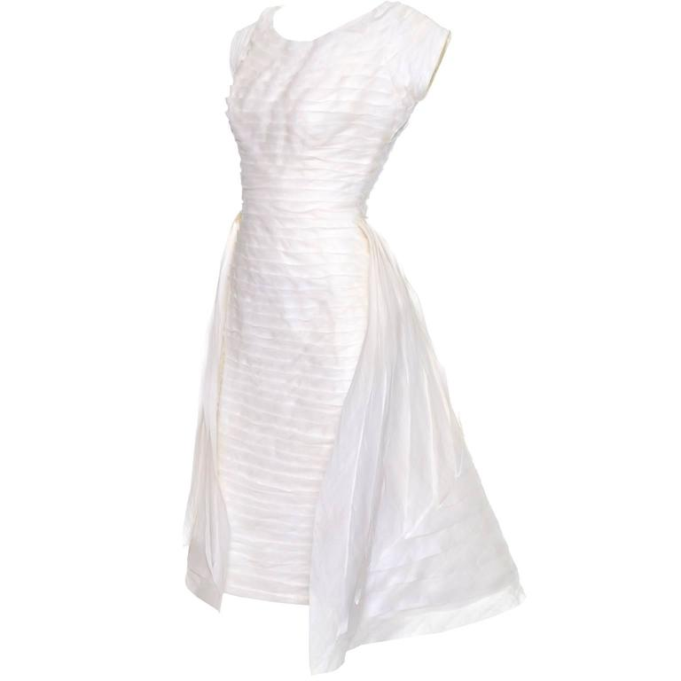 1950s William Cahill Beverly Hills Pleated Organza Vintage Wedding Dress Train For Sale 1