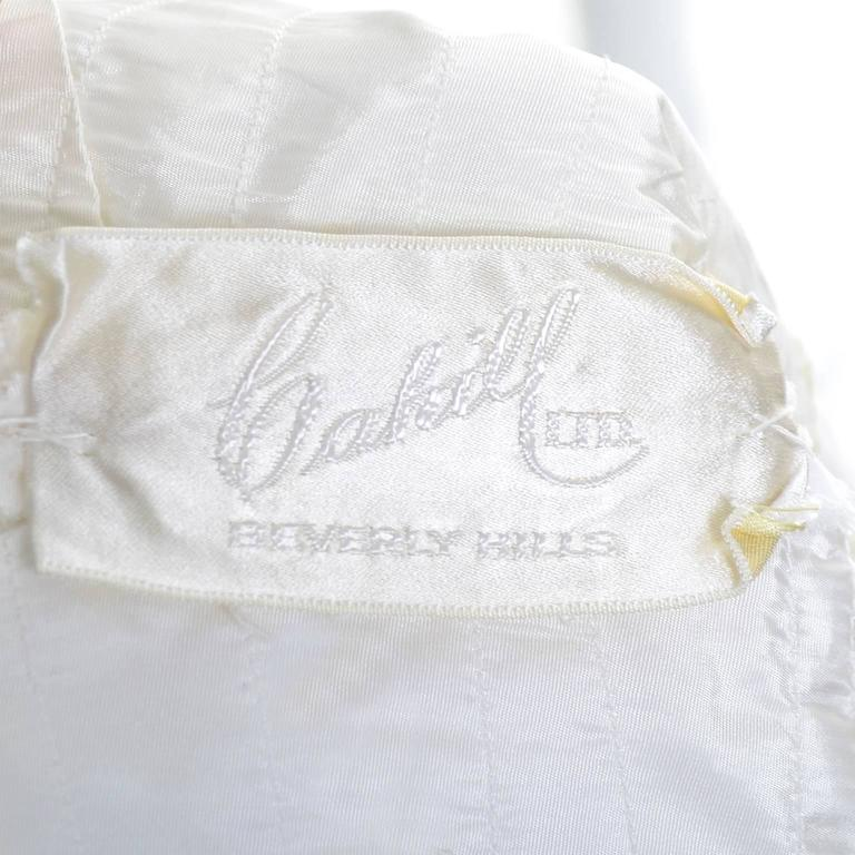 1950s William Cahill Beverly Hills Pleated Organza Vintage Wedding Dress Train For Sale 4