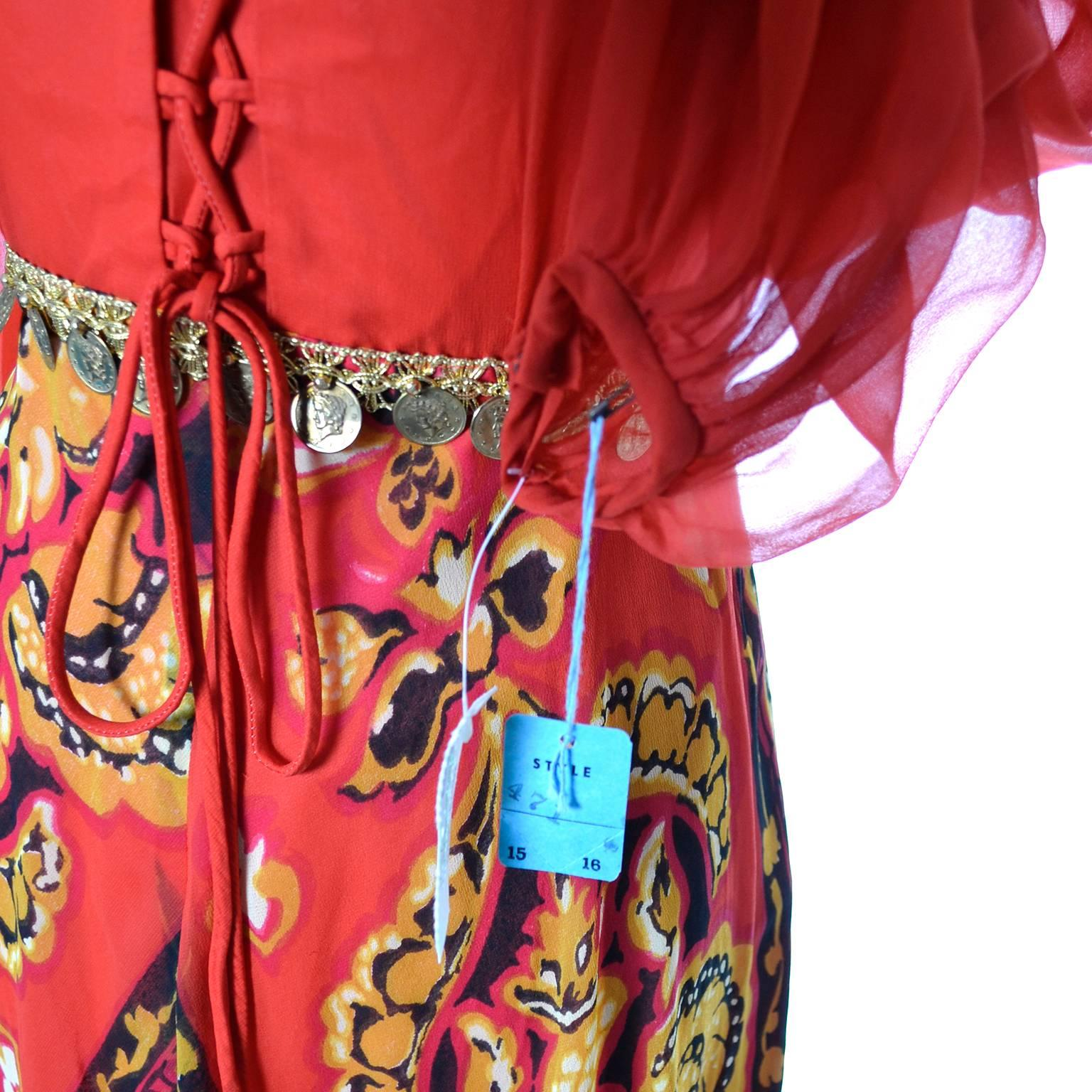 0c1978aaeec NEW Deadstock 1970s Vintage Dress Chiffon Maxi Abstract Coins Tags Corset  Ties For Sale at 1stdibs