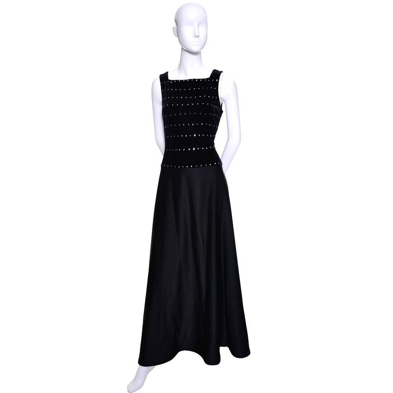 Tadashi Shoji Vintage Dress Black Satin Velvet Evening Gown