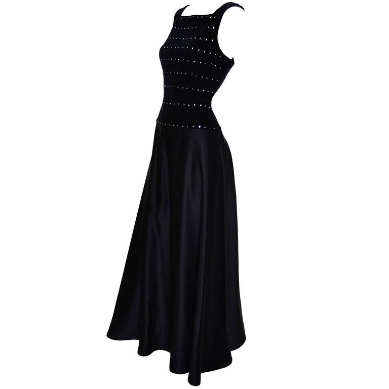 Tadashi Shoji Vintage Dress Black Satin Velvet Evening Gown Rhinestones 6