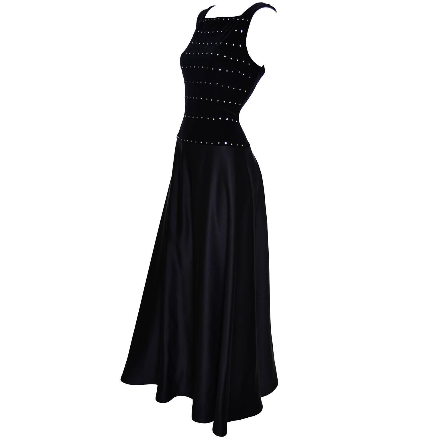 Tadashi Shoji Vintage Dress Black Satin Velvet Evening Gown Rhinestones 6