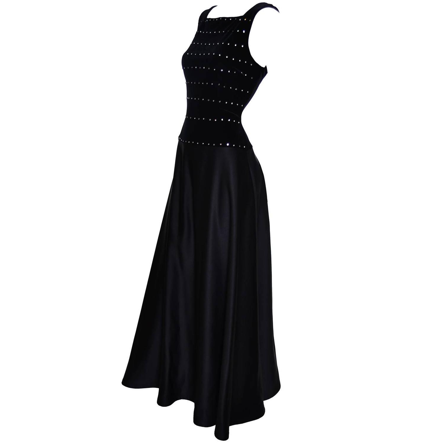 Tadashi Shoji Vintage Dress Black Satin Velvet Evening Gown ...