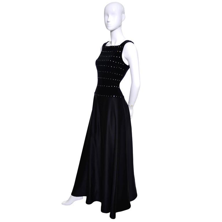 Tadashi Shoji Vintage Dress Black Satin Velvet Evening Gown ...