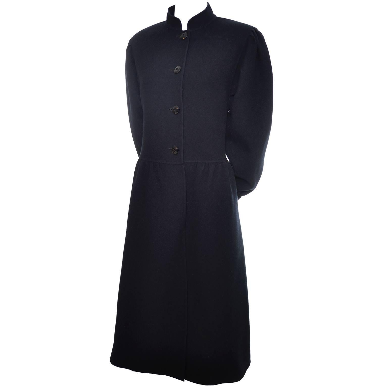 1980s Salvatore Ferragamo Vintage Black Wool Coat or Coat Dress Italy 10