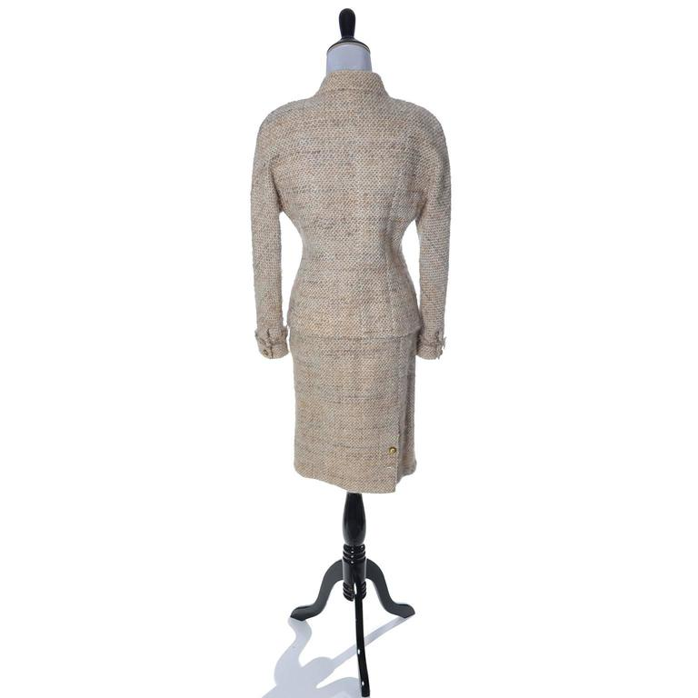 Documented F/W 1988 Vintage Chanel Boutique Skirt Suit Boucle Wool Fringe  In Good Condition For Sale In Portland, OR