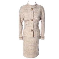 Documented F/W 1988 Vintage Chanel Boutique Skirt Suit Boucle Wool Fringe
