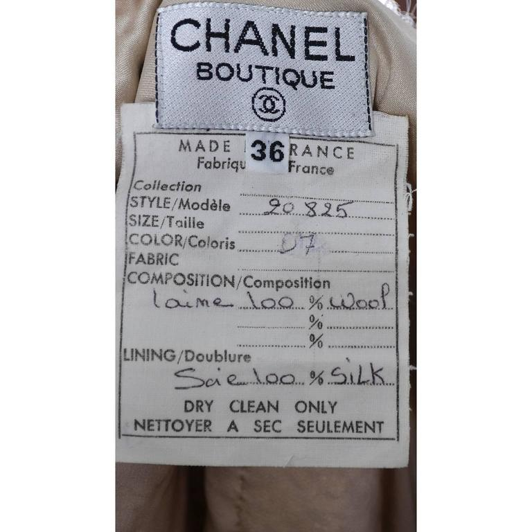 Documented F/W 1988 Vintage Chanel Boutique Skirt Suit Boucle Wool Fringe  For Sale 4