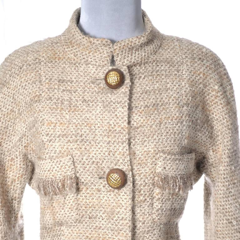 Beige Documented F/W 1988 Vintage Chanel Boutique Skirt Suit Boucle Wool Fringe  For Sale