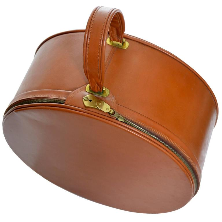 Vintage Mark Cross Brown Leather Bag Suitcase Hat Box ...