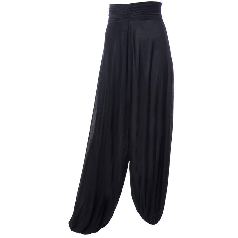1970s Emilio Pucci Vintage Black Jersey Harem Pants Made in Italy Size 6/8 For Sale