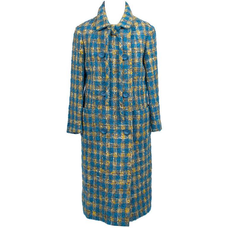Vintage Tweed Coat Skirt Suit 1960s Ramuz Geneve Blue & Gold Plaid Wool
