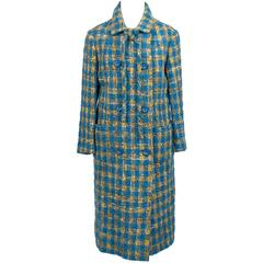 Vintage Tweed Coat Skirt Suit 1960s Ramuz Geneve Blue & Gold Plaid Wool