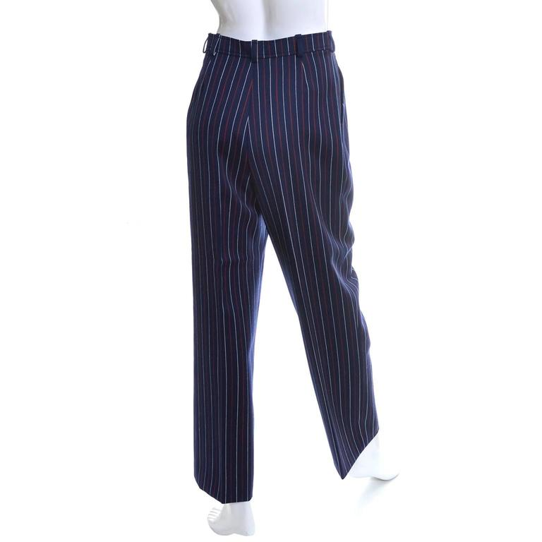 Black Yves Saint Laurent YSL Vintage Trousers High Waisted Pants Red White Blue 6/8 For Sale