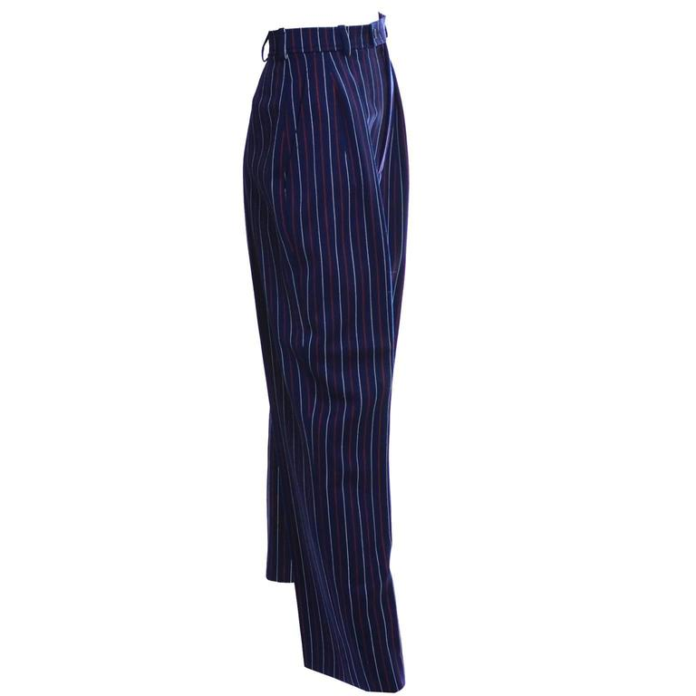 Yves Saint Laurent YSL Vintage Trousers High Waisted Pants Red White Blue 6/8 In Excellent Condition For Sale In Portland, OR