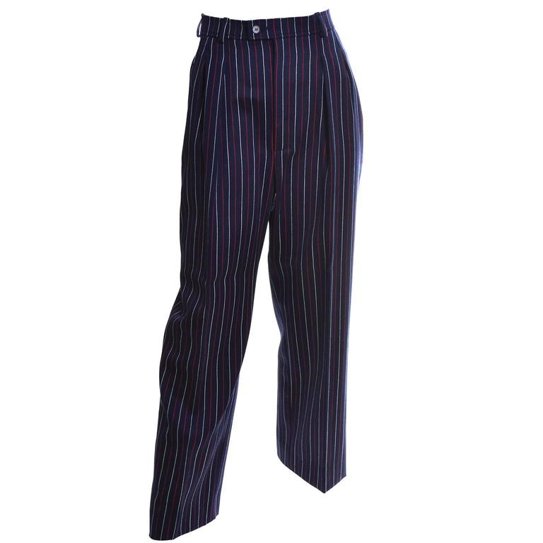 Yves Saint Laurent YSL Vintage Trousers High Waisted Pants Red White Blue 6/8 For Sale