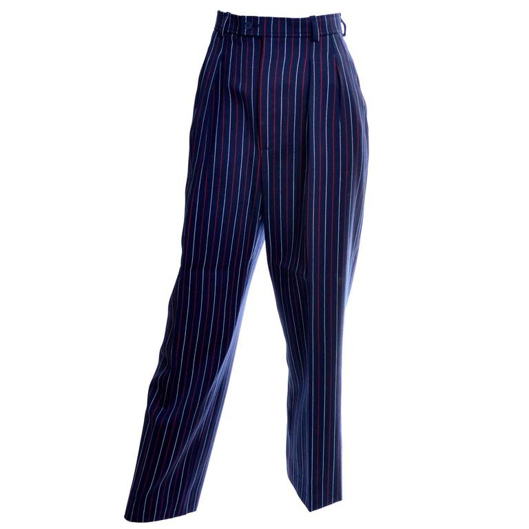 Women's Yves Saint Laurent YSL Vintage Trousers High Waisted Pants Red White Blue 6/8 For Sale