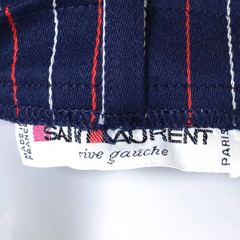 Yves Saint Laurent YSL Vintage Trousers High Waisted Pants Red White Blue 6/8 For Sale 1