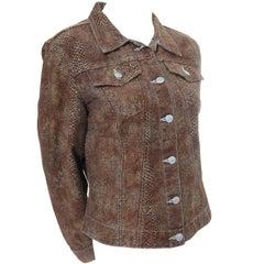 1990s Todd Oldham Vintage Denim Style Jacket Snakeskin Print Size Medium