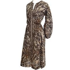 1970s Victor Costa I Magnin Vintage Dress Animal Print Jersey 10