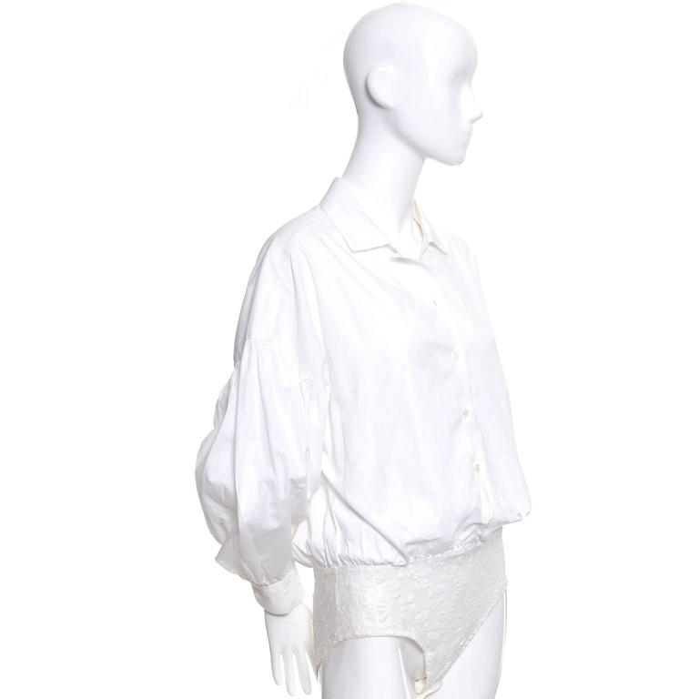 1980s Christian Dior Vintage Blouse White Cotton Bodysuit Puff Sleeves 2