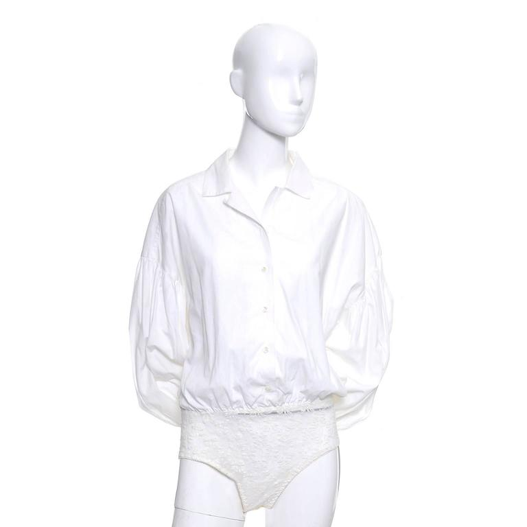 1980s Christian Dior Vintage Blouse White Cotton Bodysuit Puff Sleeves 3