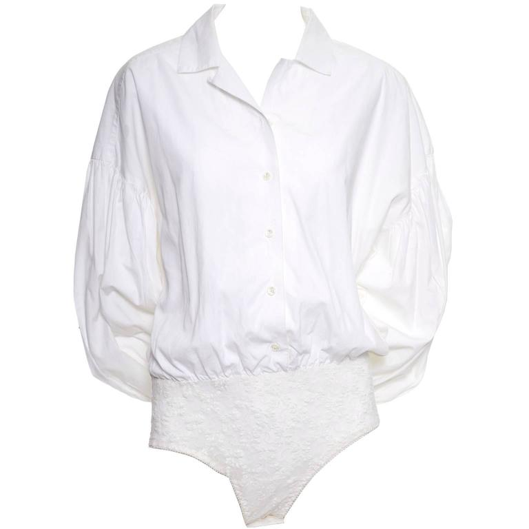 1980s Christian Dior Vintage Blouse White Cotton Bodysuit Puff Sleeves 1