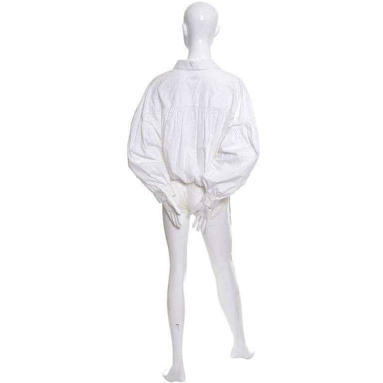 1980s Christian Dior Vintage Blouse White Cotton Bodysuit Puff Sleeves 4