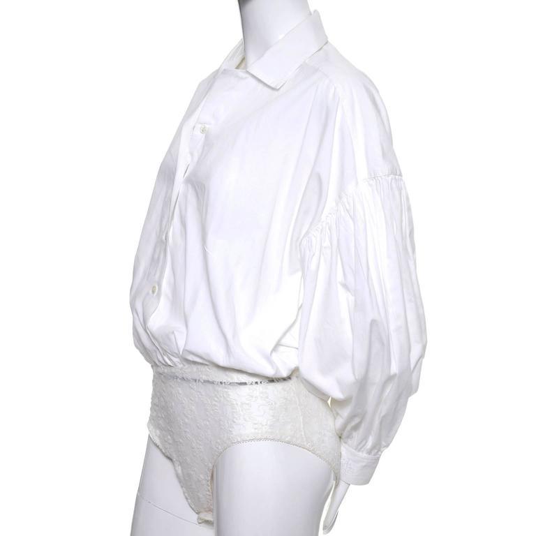 1980s Christian Dior Vintage Blouse White Cotton Bodysuit Puff Sleeves 5