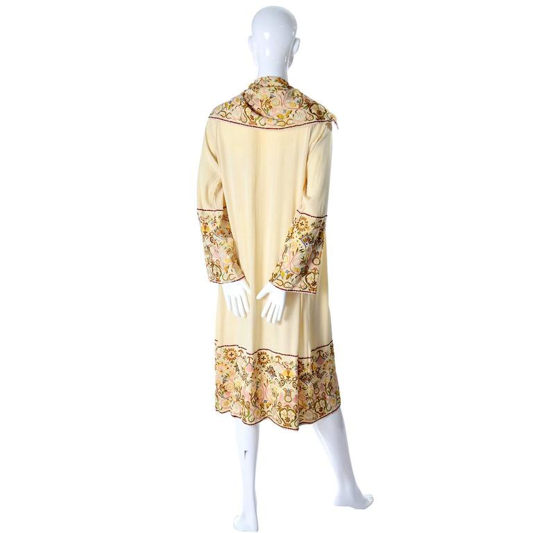 Edwardian Silk Art Deco Vintage Robe or Coat Extraordinary Fine Embroidery 2