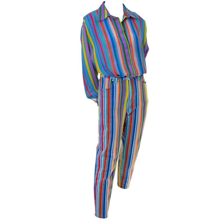 Versace Jeans Couture Greek Key Stripes Print Silk Blouse and Pants, 1990s