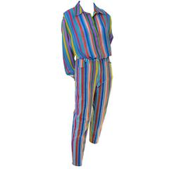 1990s Versace Jeans Couture 2 Piece Greek Key Stripes Silk Blouse and Pants