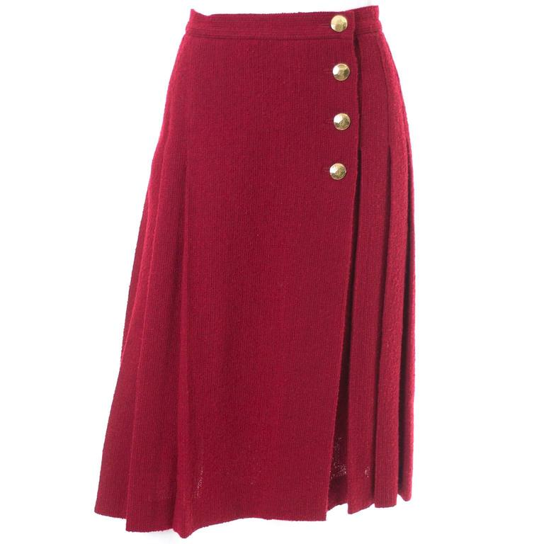 1990s YSL Vintage Burgundy Red Boucle Wool Skirt Yves Saint Laurent Rive Gauche For Sale