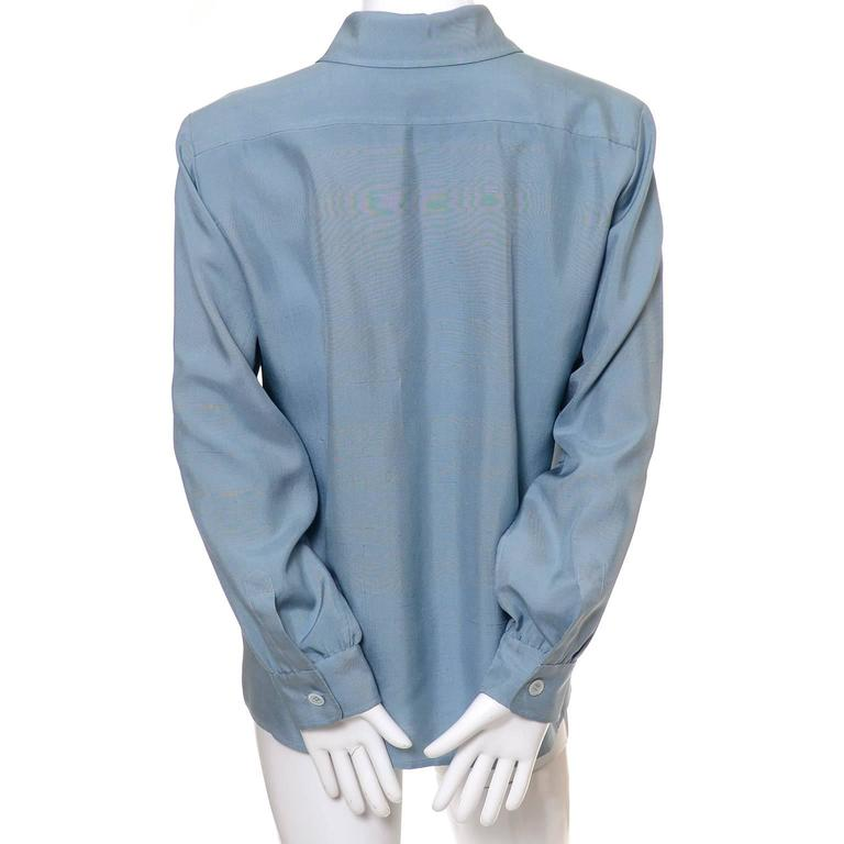 Women's YSL Vintage Bow Blouse Blue Raw Silk Yves Saint Laurent France Size 38 For Sale