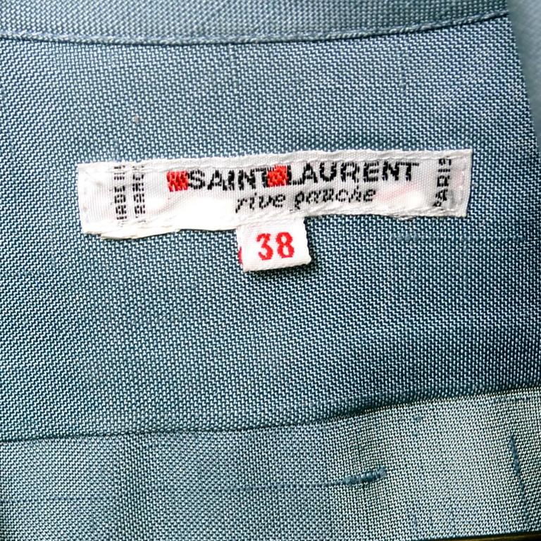 YSL Vintage Bow Blouse Blue Raw Silk Yves Saint Laurent France Size 38 For Sale 2