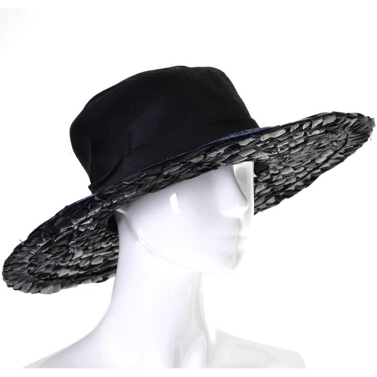 "Schiaparelli Paris 1960s Vintage Hat Straw Raw Silk 23"" 2"