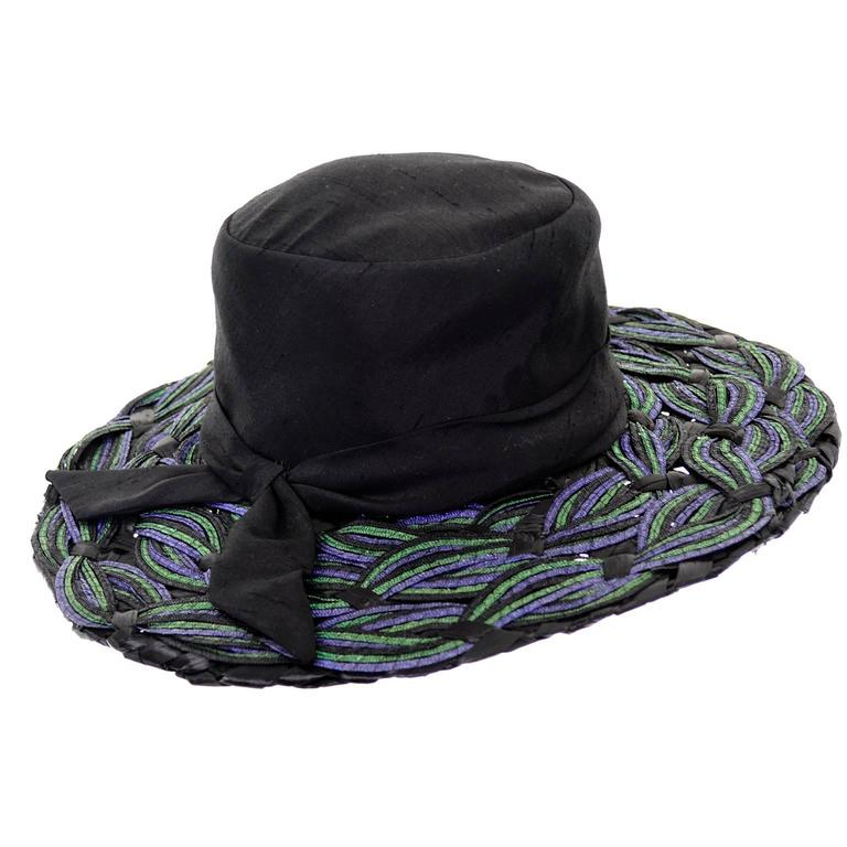 "Schiaparelli Paris 1960s Vintage Hat Straw Raw Silk 23"" 3"