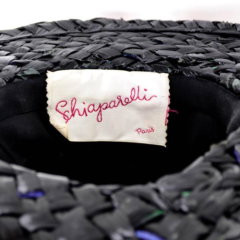 "Schiaparelli Paris 1960s Vintage Hat Straw Raw Silk 23"" 4"