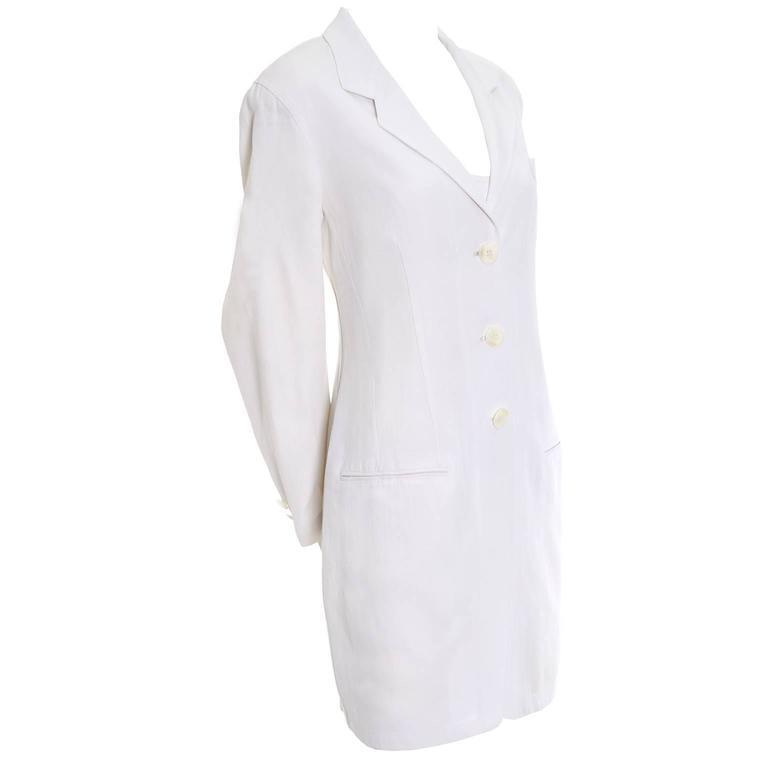 1990s Donna Karan Vintage Ivory Racer Back Dress and Coat Suit Ensemble For Sale 1