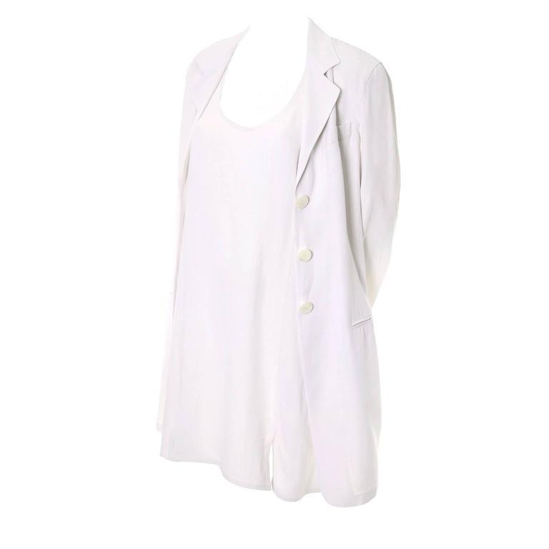 1990s Donna Karan Vintage Ivory Racer Back Dress and Coat Suit Ensemble For Sale
