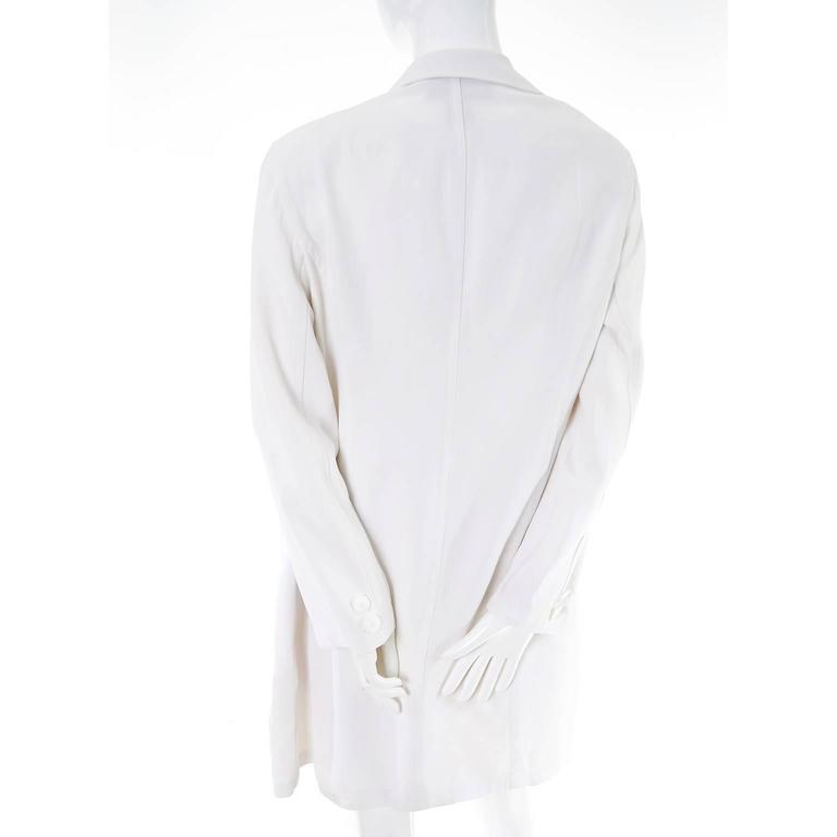 1990s Donna Karan Vintage Ivory Racer Back Dress and Coat Suit Ensemble For Sale 2