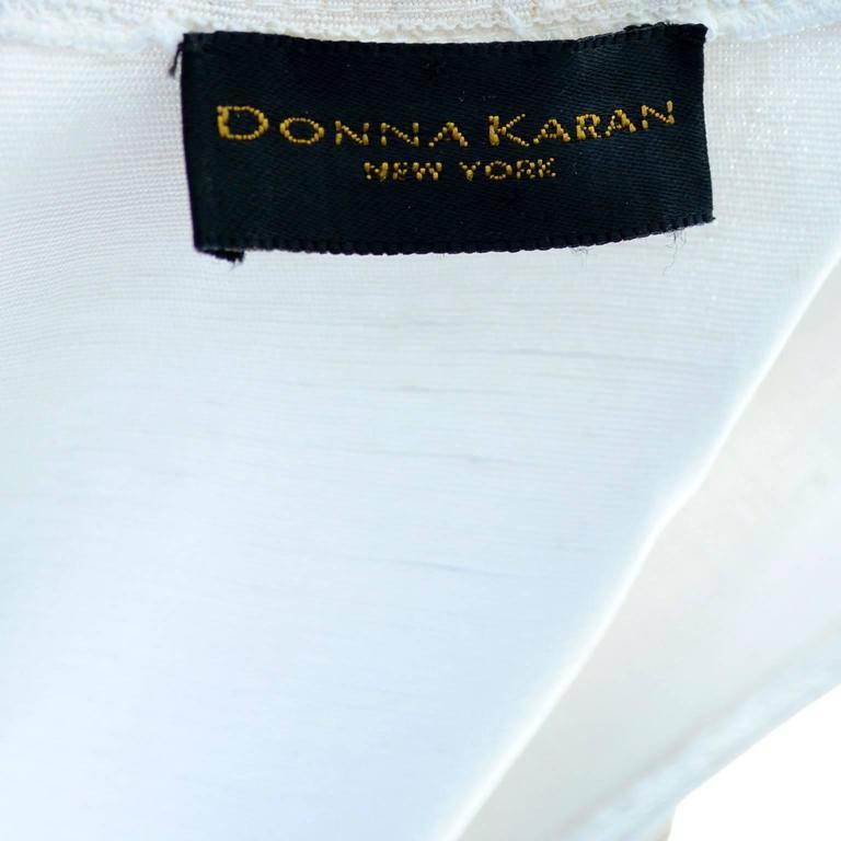 1990s Donna Karan Vintage Ivory Racer Back Dress and Coat Suit Ensemble For Sale 3