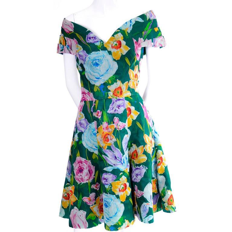 Gray Arnold Scassi Vintage Dress Off Shoulder Floral Organza over Green silk  For Sale