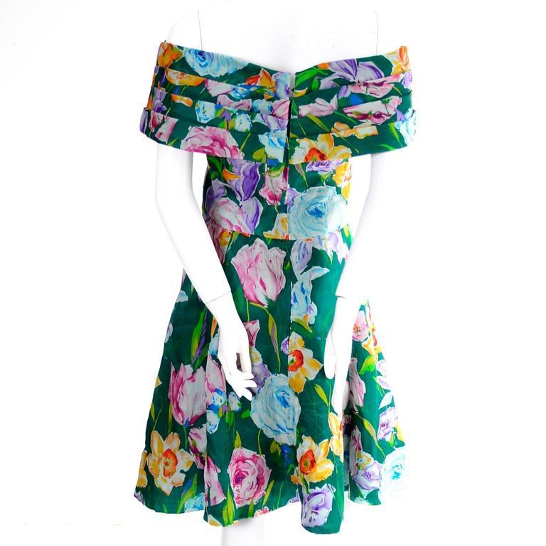 Arnold Scassi Vintage Dress Off Shoulder Floral Organza over Green silk  In Excellent Condition For Sale In Portland, OR