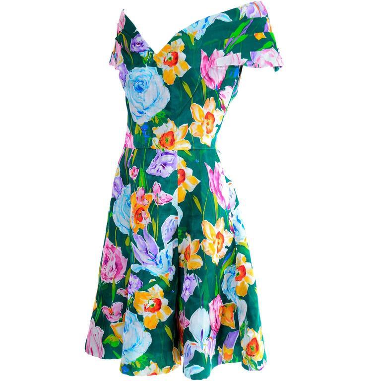 Arnold Scassi Vintage Dress Off Shoulder Floral Organza over Green silk  For Sale